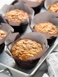 Morning Glory Muffins on a metal pan ready to serve