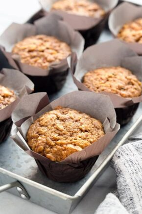 Morning Glory Muffins are sweet, moist and ideal for busy mornings! Pair them with a mug of your favorite coffee for the perfect fall breakfast