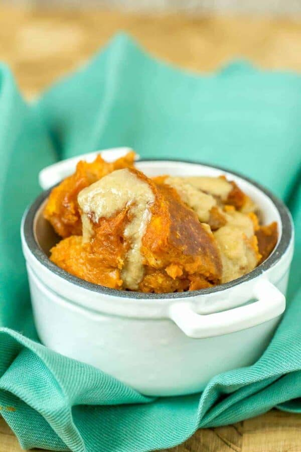 Pumpkin bread pudding is a great fall dessert. Leftover bread combines with a pumpkin custard for a delicious fall dessert.