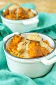 Pumpkin bread pudding is a great fall dessert. Leftover bread combines with a pumpkin custard for a luscious way to end a meal!