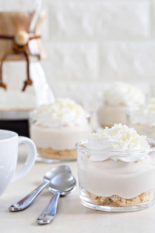 White chocolate tiramisu pudding cups my baking addiction white chocolate tiramisu pudding cups come together in minutes for a delicious and simple dessert forumfinder Gallery