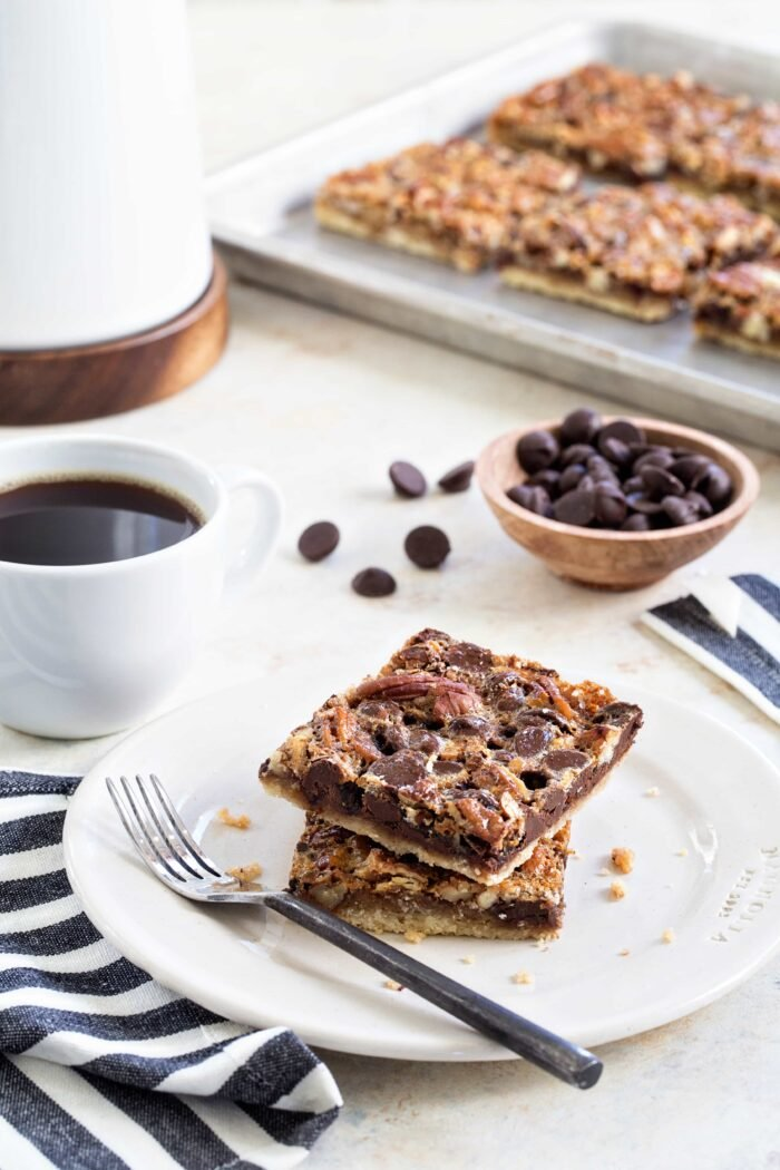 Chocolate Bourbon Pecan Bars are a fun twist on classic pecan pie. Holiday dessert perfection!