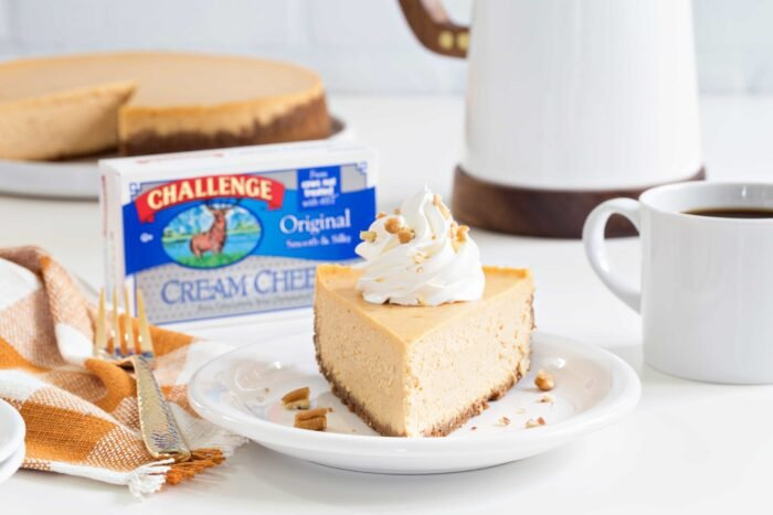 Sweet Potato Cheesecake is smooth, creamy and loaded with fall flavors. Perfect for Thanksgiving!