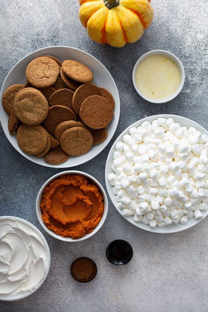 Ingredients for marshmallow pumpkin pie on a gray counter
