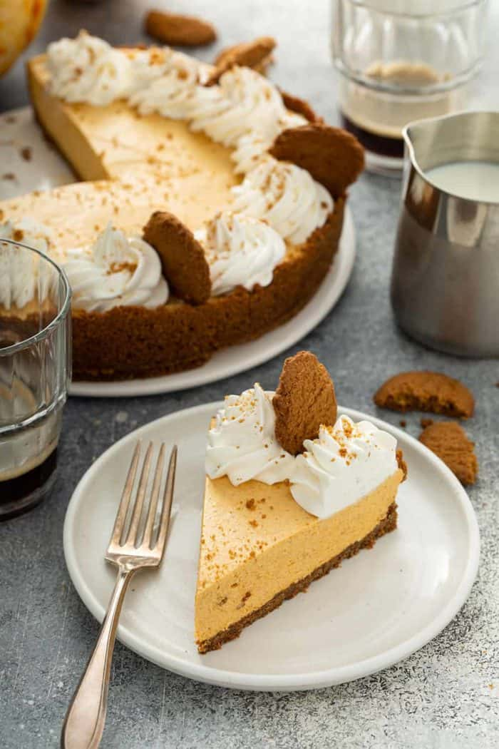 Slice of marshmallow pumpkin pie on a white plate