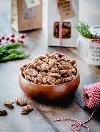 Chai Spiced Candied Pecans are sweet, crunchy and totally delicious! They're perfect for topping salads, desserts, or just munching by the handful.