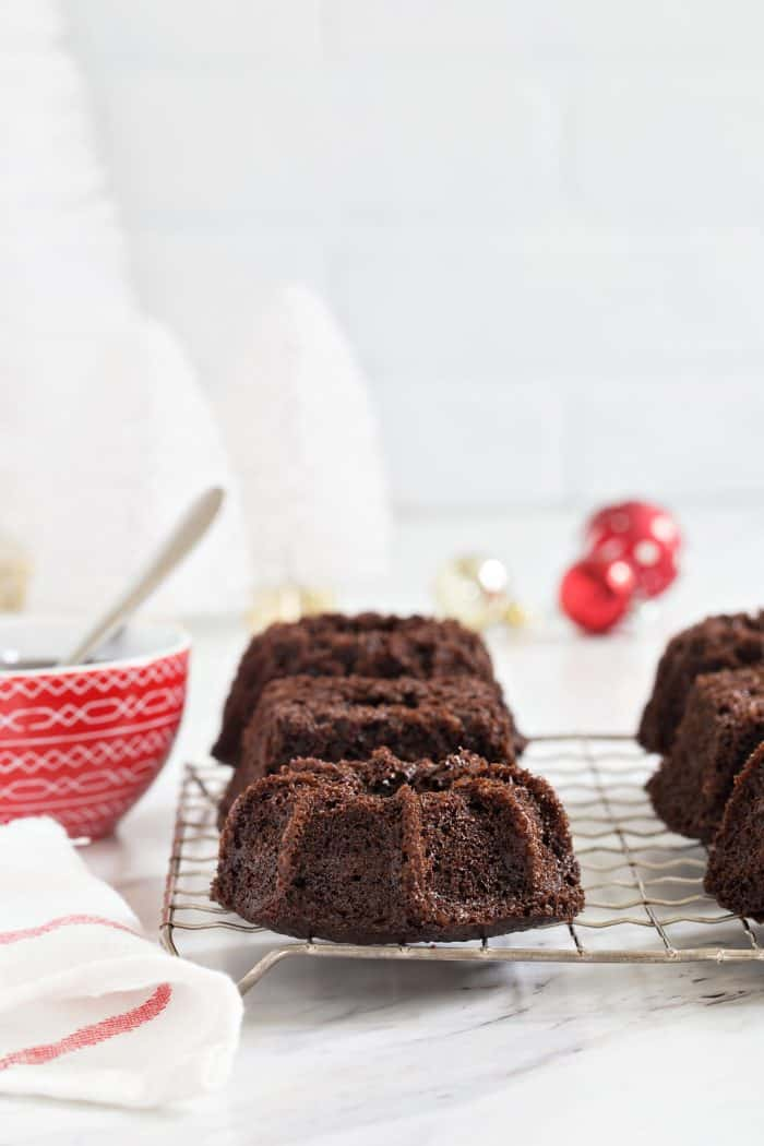 Chocolate Peppermint Mini Bundt Cakes are a fun and delicious dessert for any holiday party. Who could resist their own mini cake?