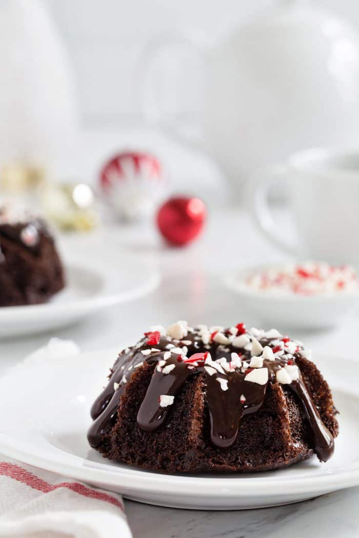 Chocolate Peppermint Mini Bundt Cakes are a fun and delicious dessert for any holiday party. A drizzle of peppermint ganache and sprinkling of crushed candy canes makes them super festive!