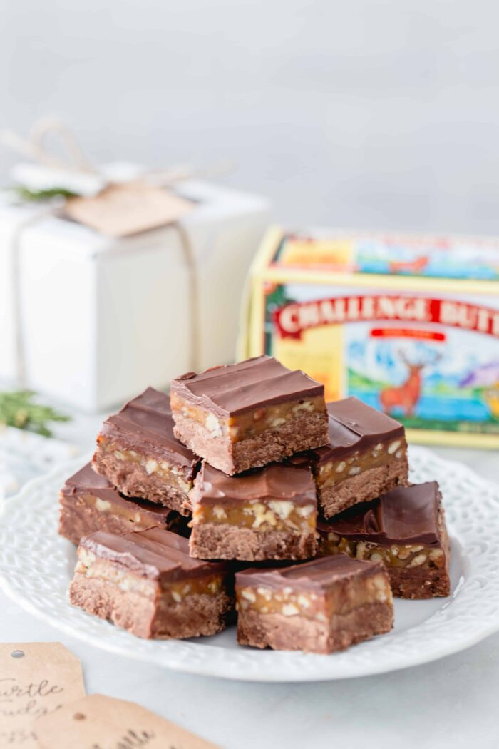 Turtle Fudge is rich, delicious and the perfect addition to any holiday dessert table. Great for gift giving!