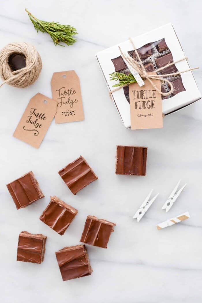 Turtle Fudge is rich, delicious and the perfect addition to any holiday dessert plate!  If you have a turtle candy lover on your list, this is a must make!