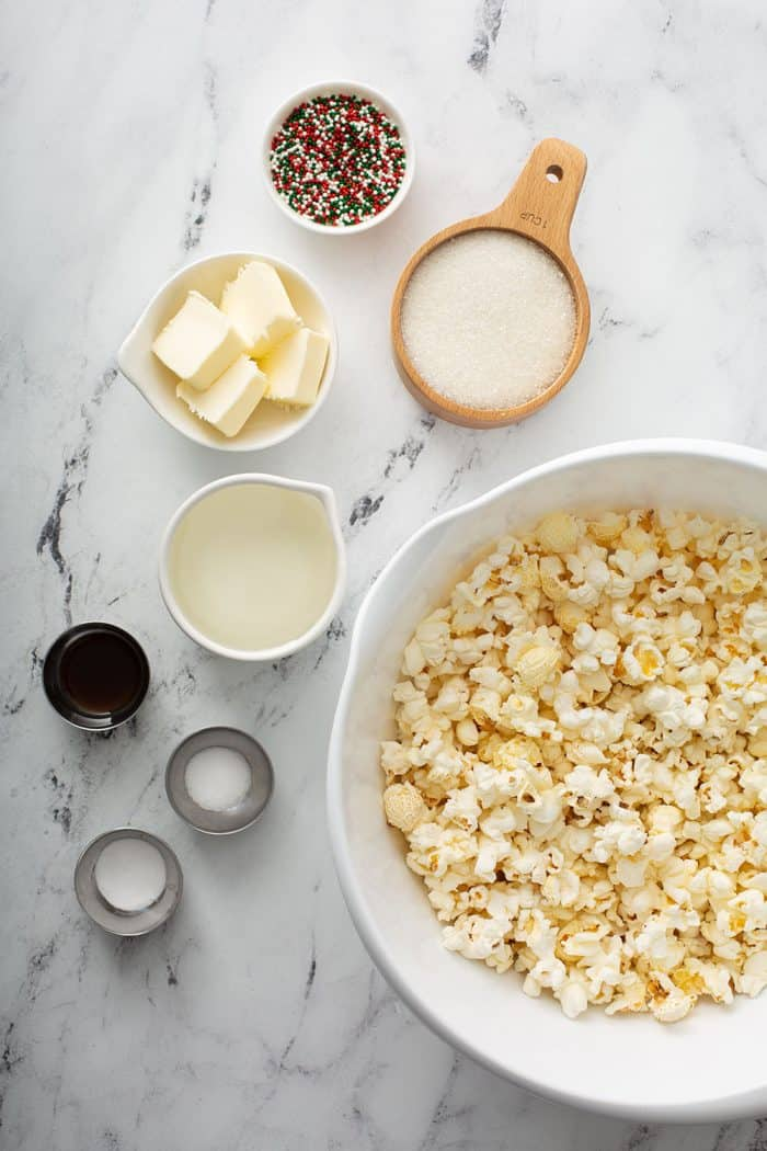 Ingredients for popcorn balls arranged on a counter