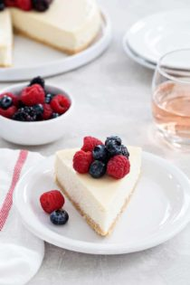 Rosé Cheesecake is rich, creamy, and full of flavor. If you love Rosé, this is the cheesecake for you!