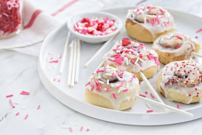 Mini Cinnamon Rolls are a fun and delicious way to celebrate any holiday!  So perfect for Valentine's Day, or any day!