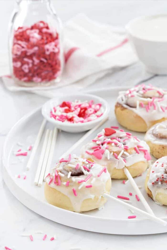 Mini Cinnamon Rolls are a fun and delicious way to celebrate any holiday!  So fun and festive!