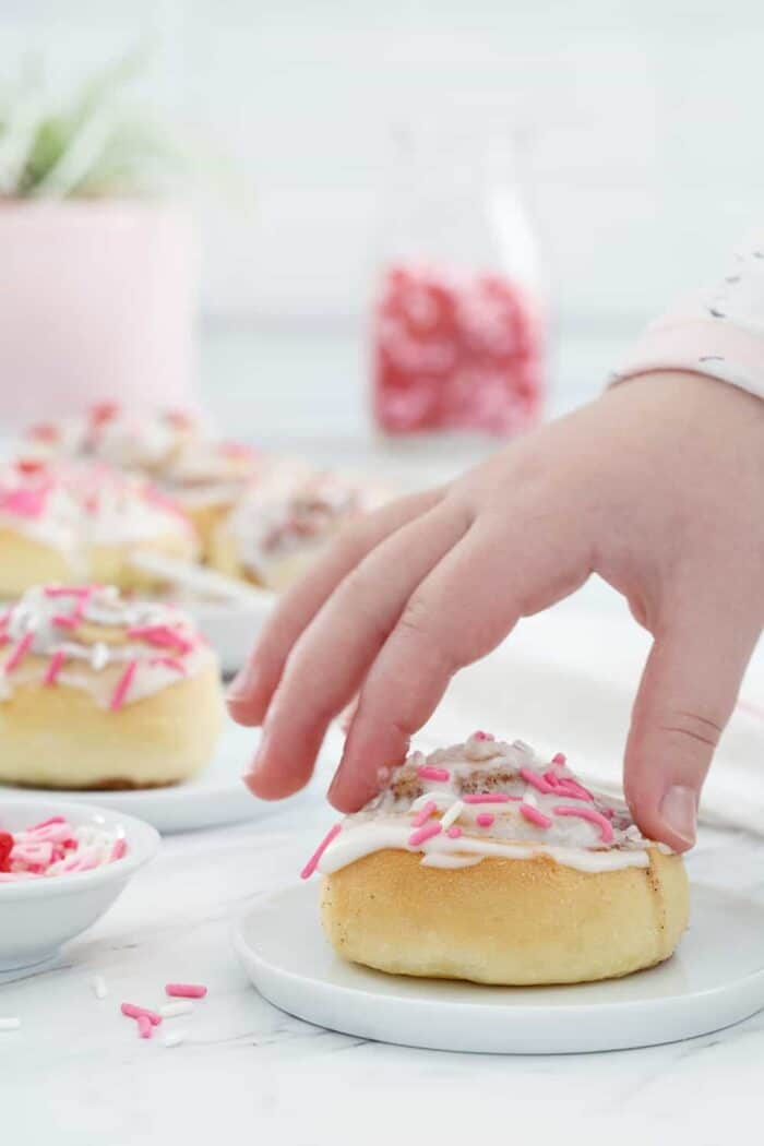 Mini Cinnamon Rolls are a fun and delicious way to celebrate any holiday!  So fun for Valentine's Day, or any day!