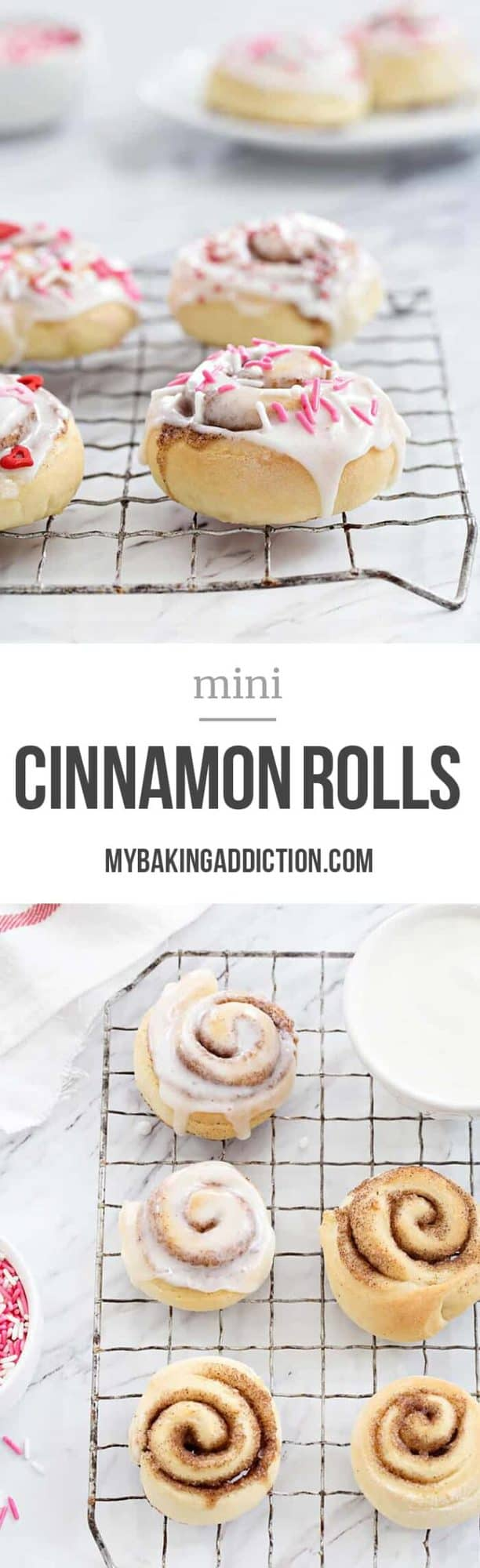 Mini Cinnamon Rolls are a fun and delicious way to celebrate any day! A sweet glaze and colorful sprinkles makes them extra special!