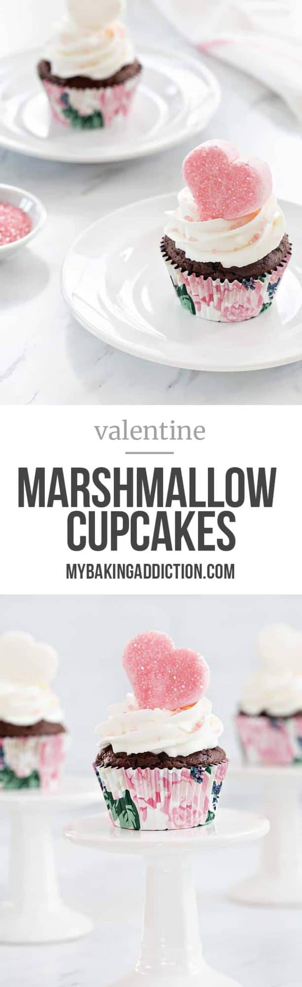 Valentine Marshmallow Cupcakes are a simple and delicious dessert for Valentine's Day. Sparkly marshmallow hearts makes them love-ly!