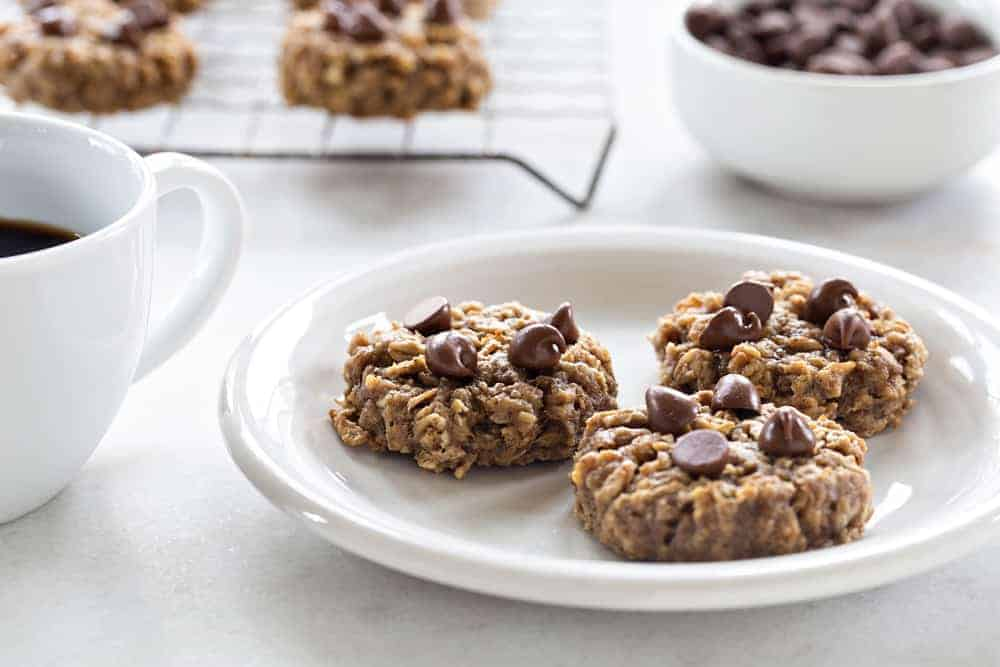 Banana Oatmeal Cookies are soft, chewy and studded with chocolate. The perfect use for those browning bananas!