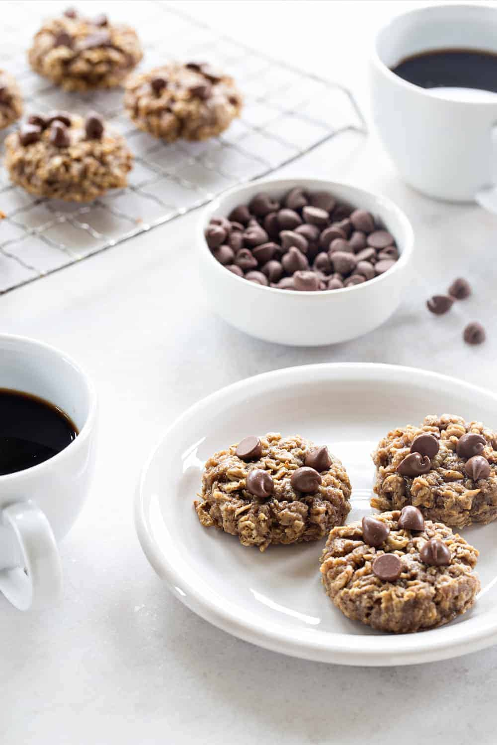 Banana Oatmeal Cookies are soft, chewy and studded with chocolate. They're perfect for breakfast, or dessert!
