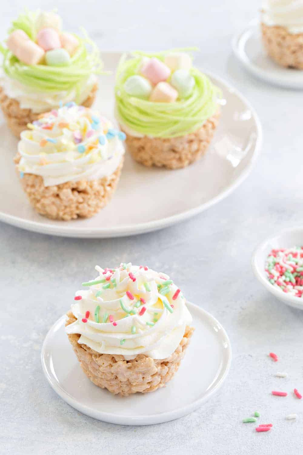 Marshmallow Treat Cupcakes are an adorable and delicious addition to any spring party! So fun and festive!