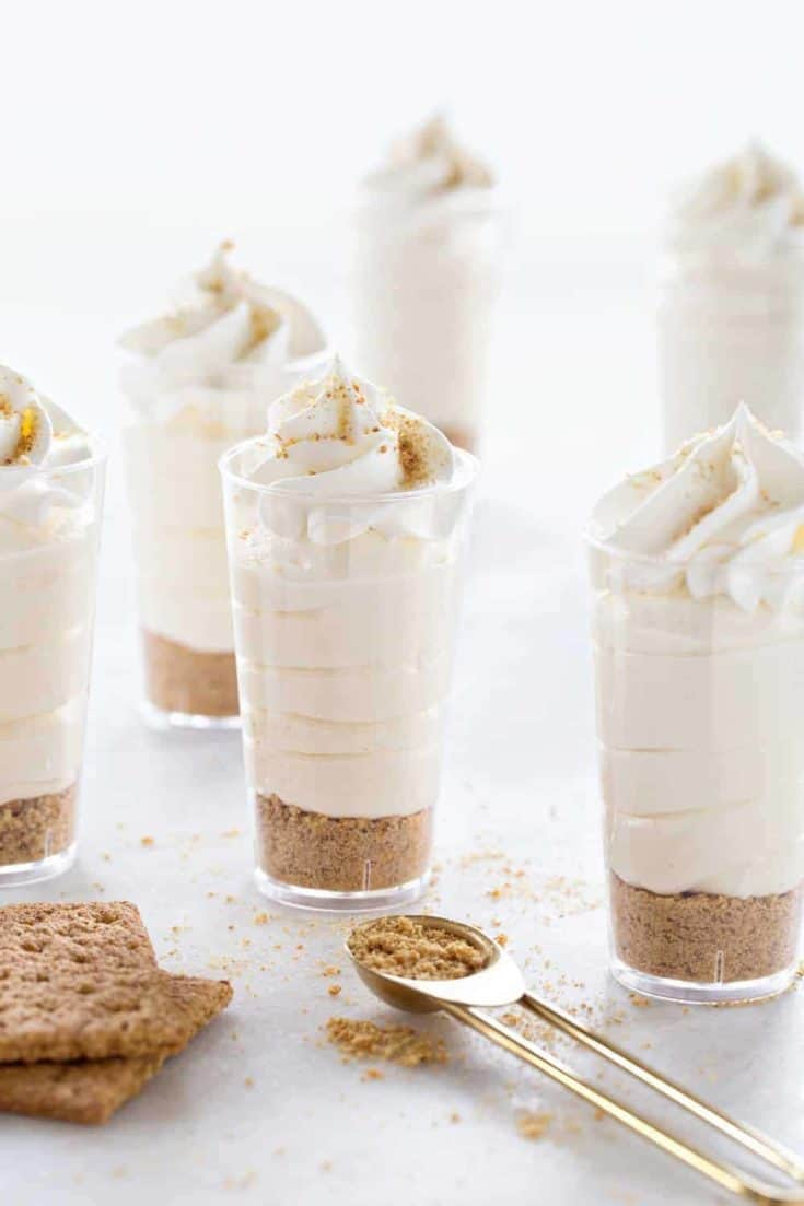 RumChata Cheesecake Pudding Shots come together with 5 simple ingredients. They're sweet, delicious and perfect for any grown up party!