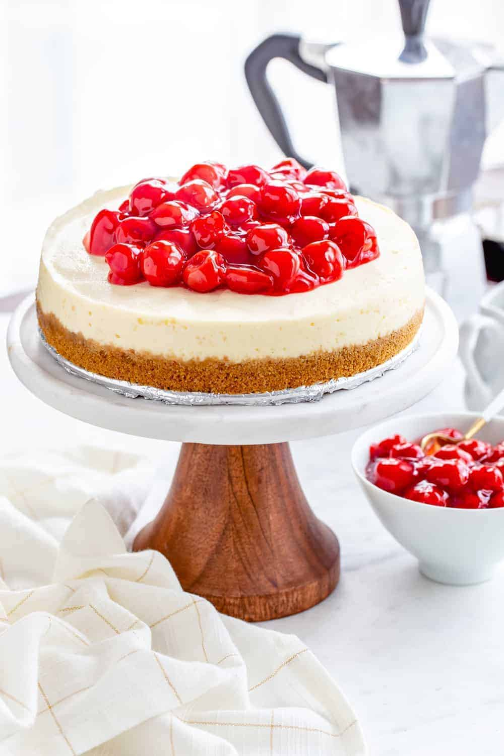 Instant Pot Cheesecake couldn't be easier or more delicious. Serve it up with pie filling, fresh fruit, or chocolate ganache for the perfect dessert.