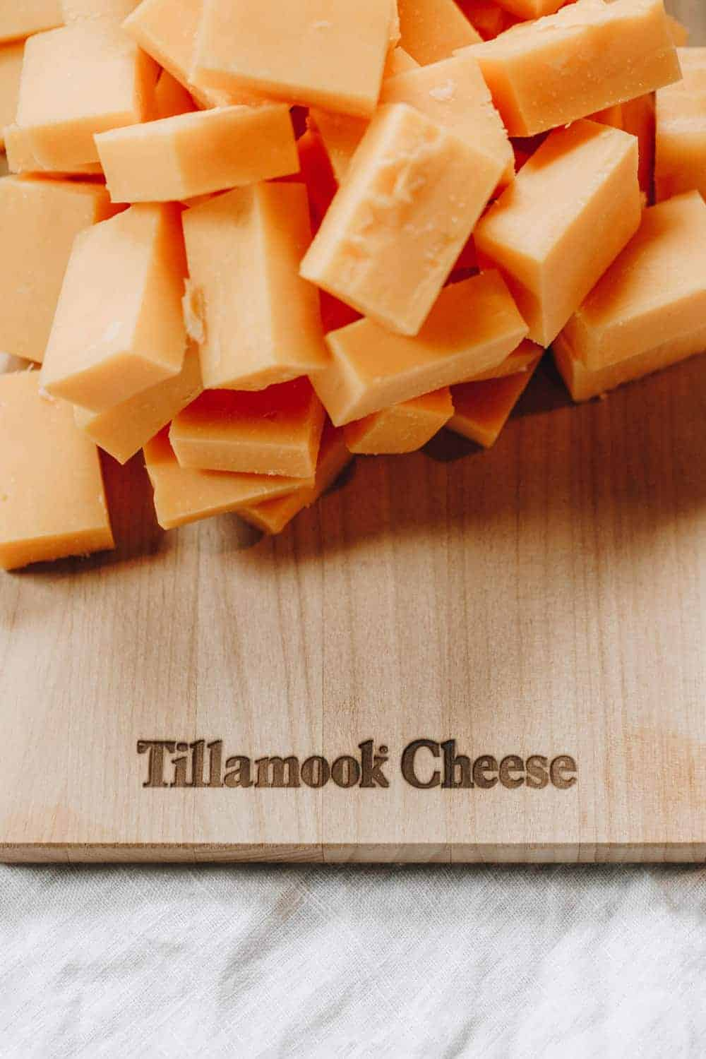 Tillamook Cheese on cutting board
