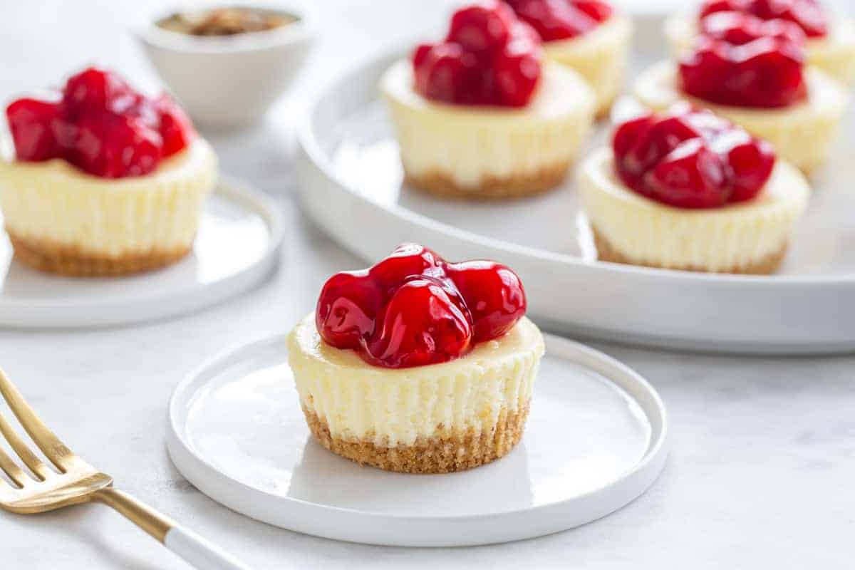 Mini Cherry Almond Cheesecakes are so simple to make! The almond-cherry combo is amazing!
