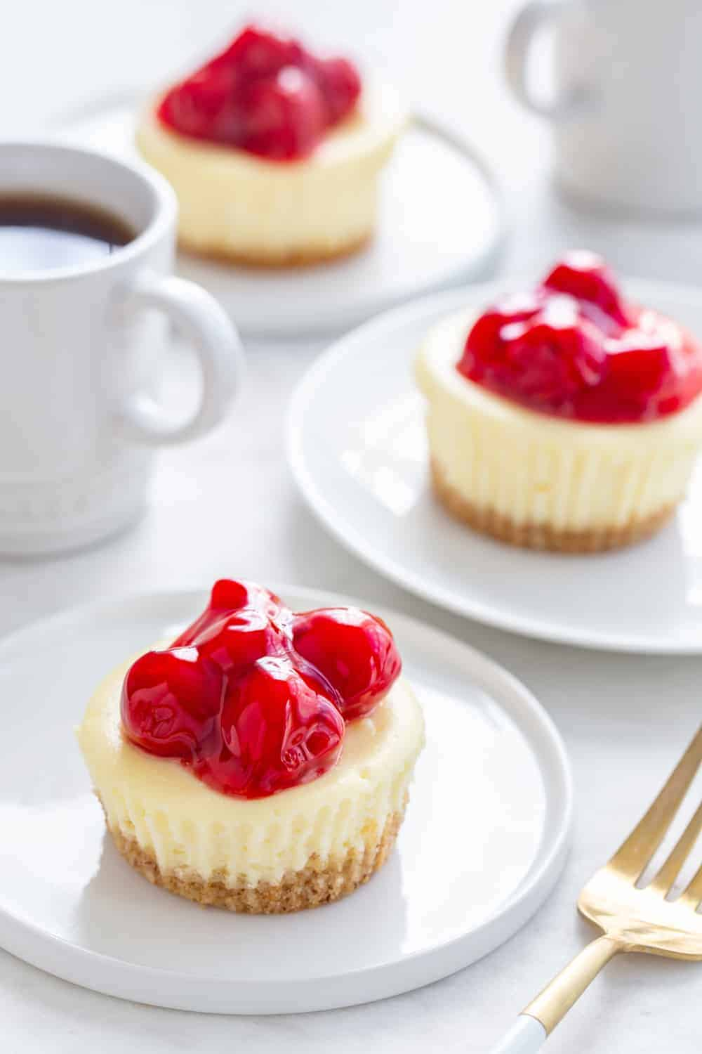 Mini Cherry Almond Cheesecakes are the perfect dessert for summer entertaining. Simple and so delish!