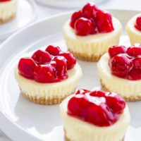 Mini Cherry Almond Cheesecakes