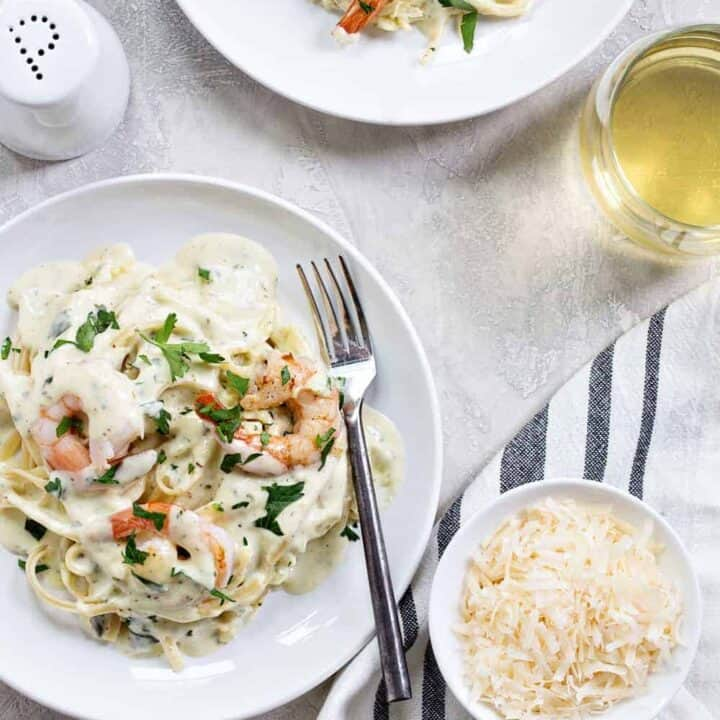 Creamy Pesto Pasta with Shrimp is simple and delicious. It's perfect for entertaining, or just a Tuesday night.