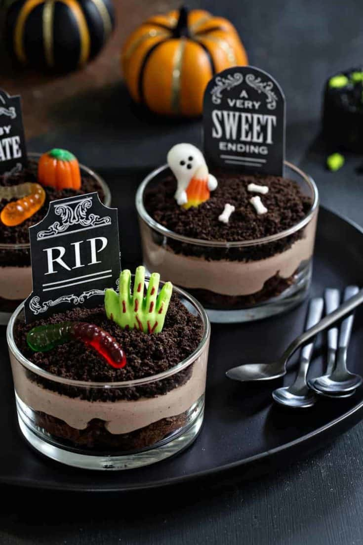 Brownie Dirt Pudding cups are a delicious Halloween dessert! Dress them up with graveyard decorations and serve them alongside a cold glass of milk for a spooky snack.