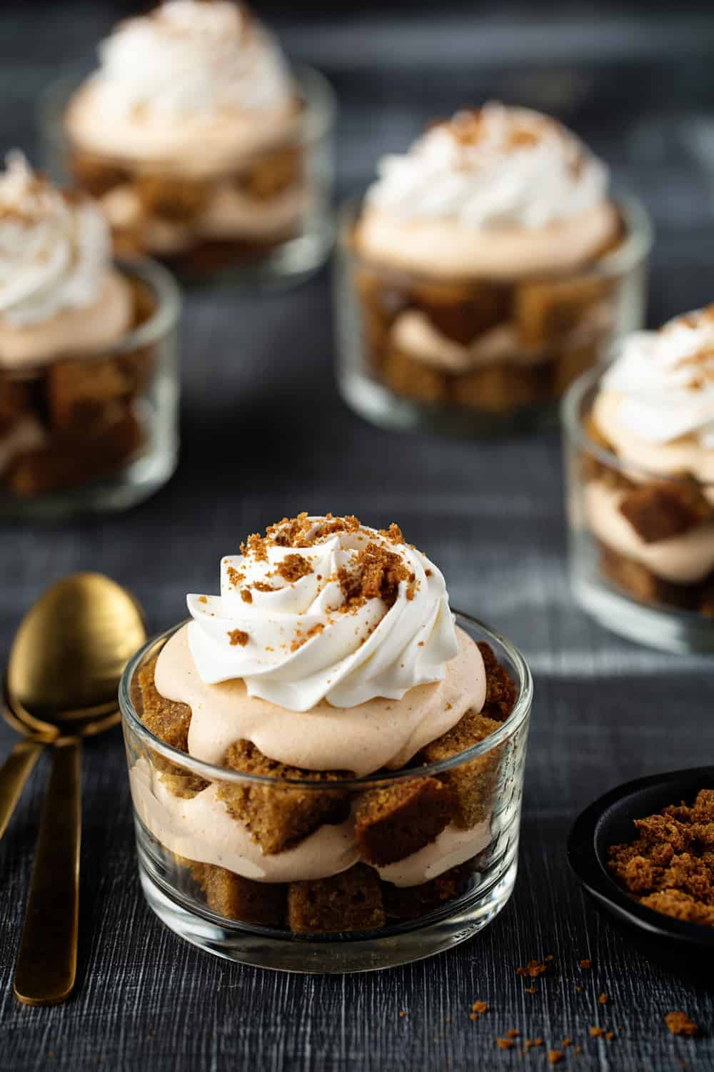 Pumpkin Trifles are simple and delicious. A seasonal marshmallow topper makes them festive.