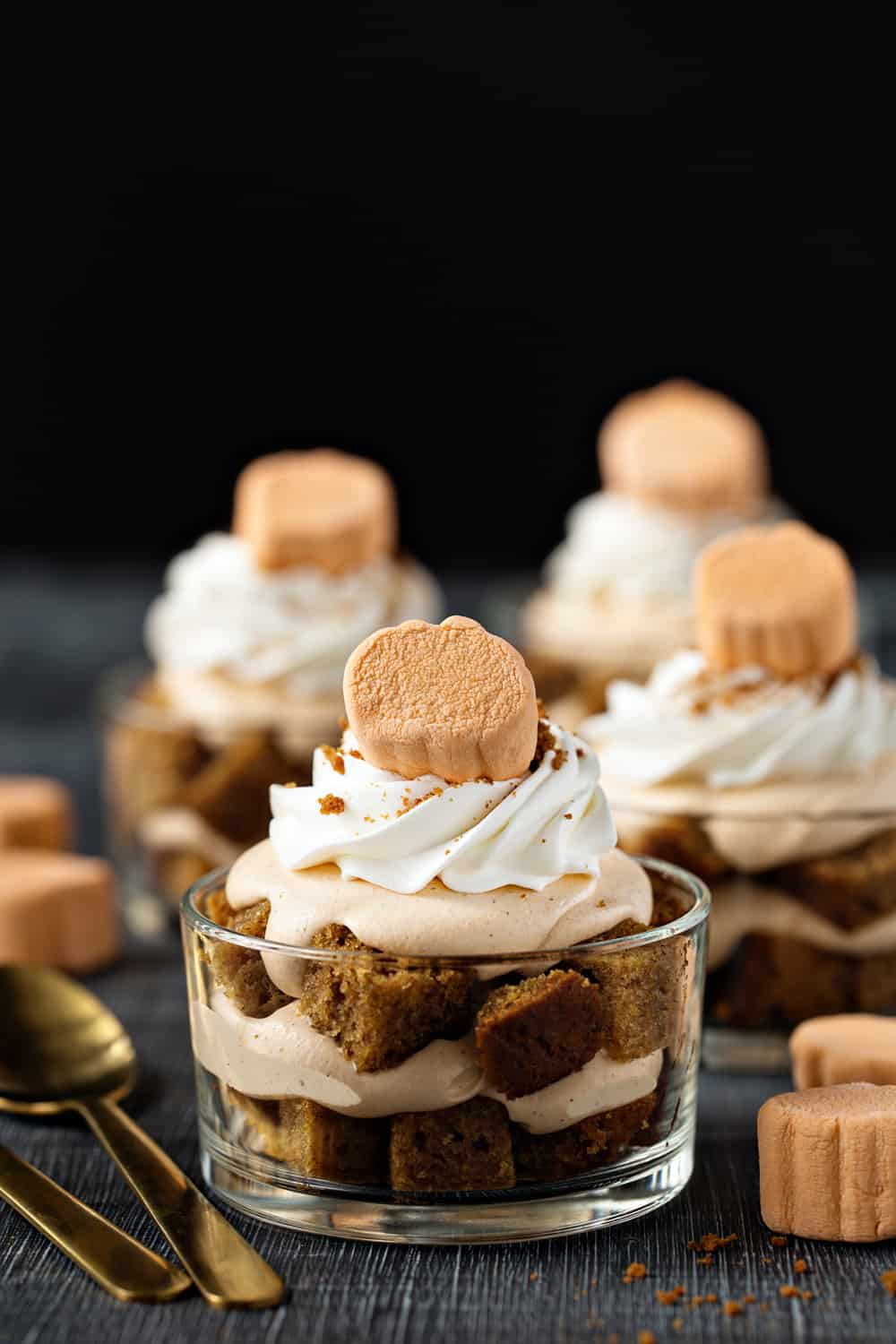 Pumpkin Trifles layer pumpkin bread with pumpkin pudding and top everything off with an adorable seasonal marshmallow. Cute enough for kids, delicious enough for adults!