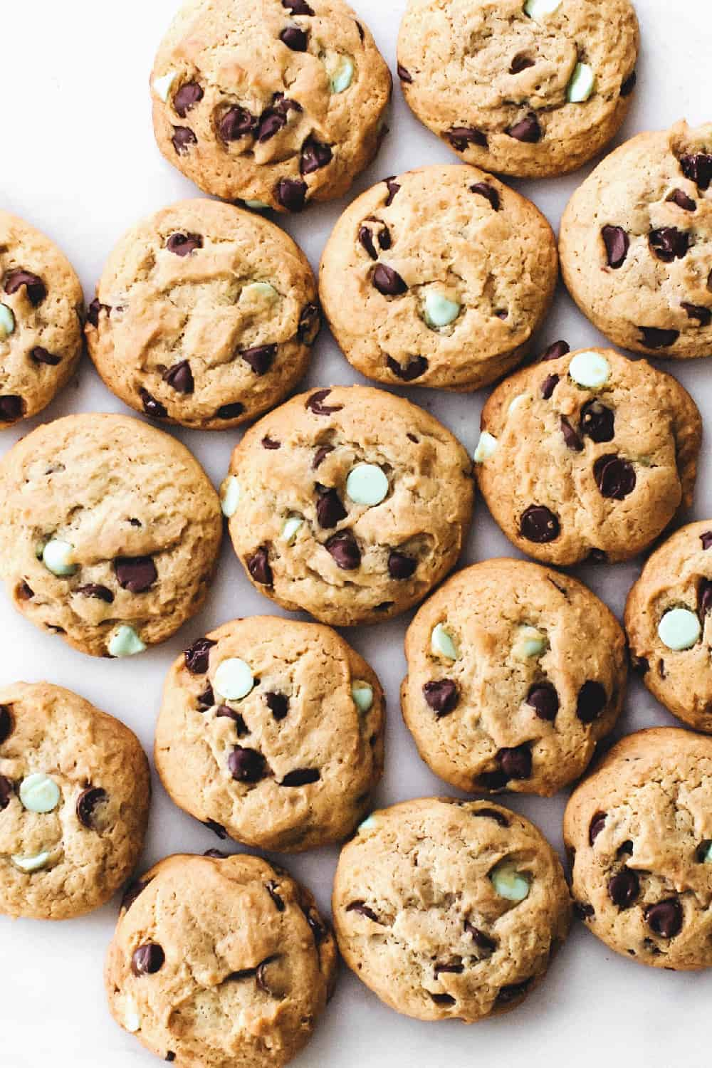 These Chewy Mint Chocolate Chip Cookies are perfect for the holidays or any day!