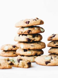 Chewy Mint Chocolate Chip Cookies are the perfect chewy chocolate chip cookie. They're studded with chocolate chips and mint chips for the best mint and chocolate flavor.
