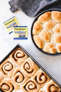 Go-To Dough is a simple yeast dough recipe. One dough makes a batch of cinnamon rolls and a batch of dinner roll.