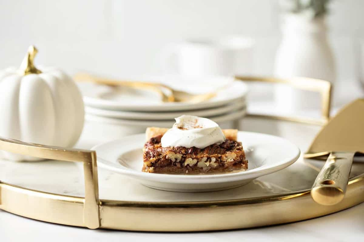 Pecan Slab Pie is an easy way to feed a crowd! Simple, classic, and totally delicious!