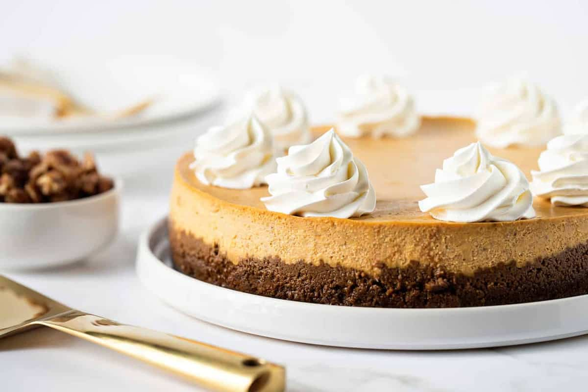 Pumpkin Praline Cheesecake is the perfect dessert for fall. It's sweet, creamy and loaded with cozy spices.