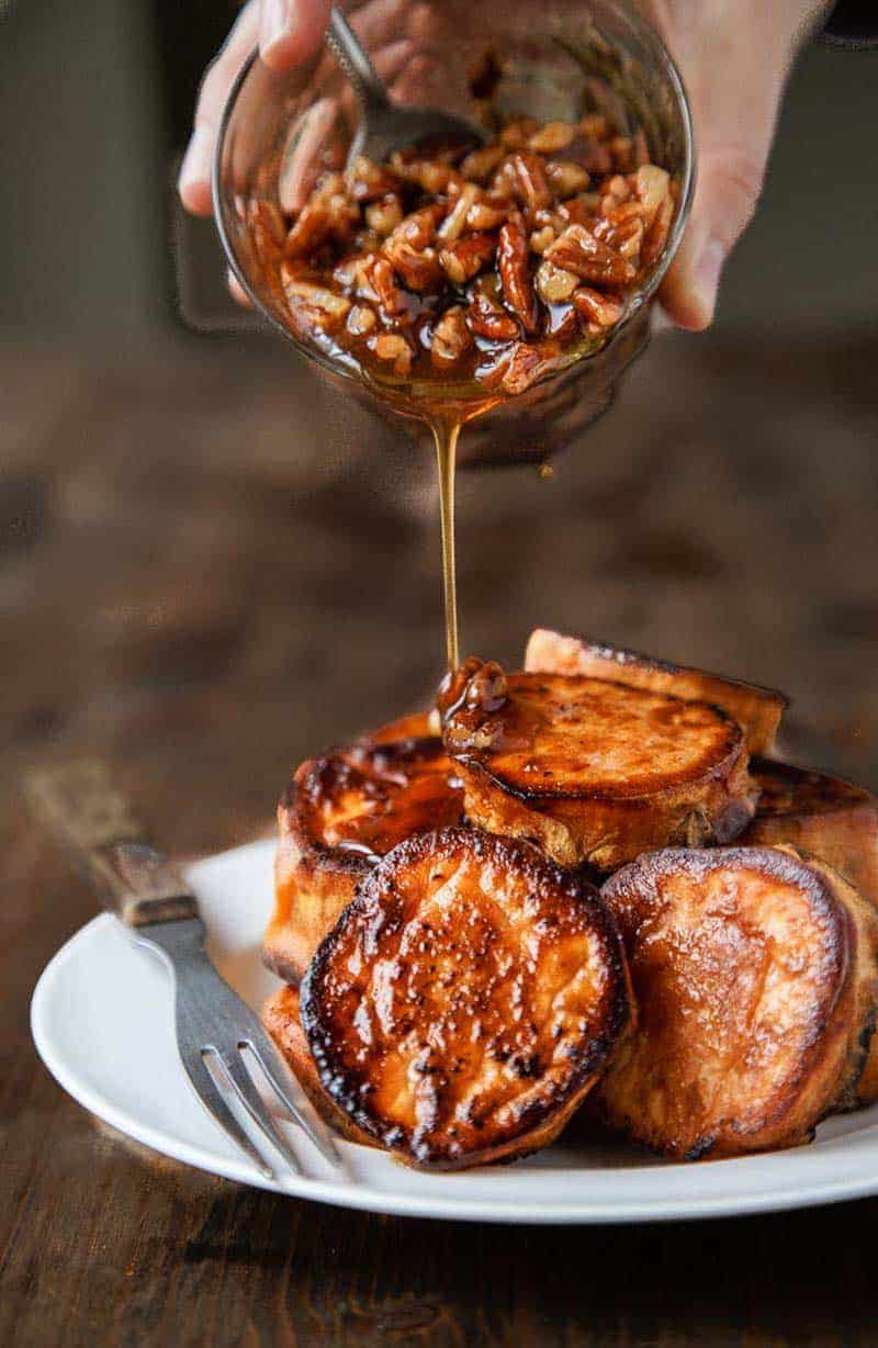 Melting Sweet Potatoes with Maple Pecan Sauce