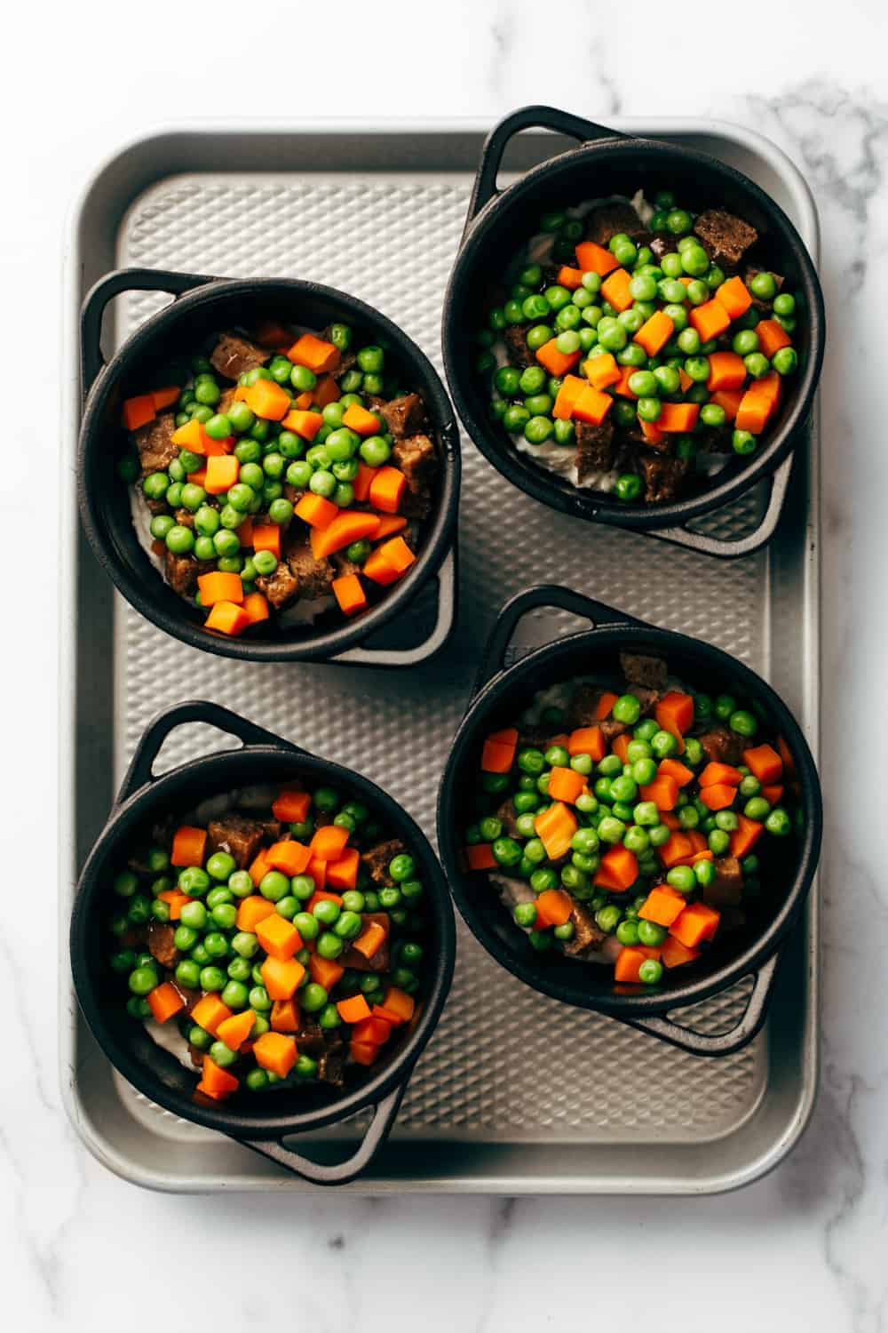 Frozen peas and carrots add some veggies to round out Quick and Easy Shepherd's Pie