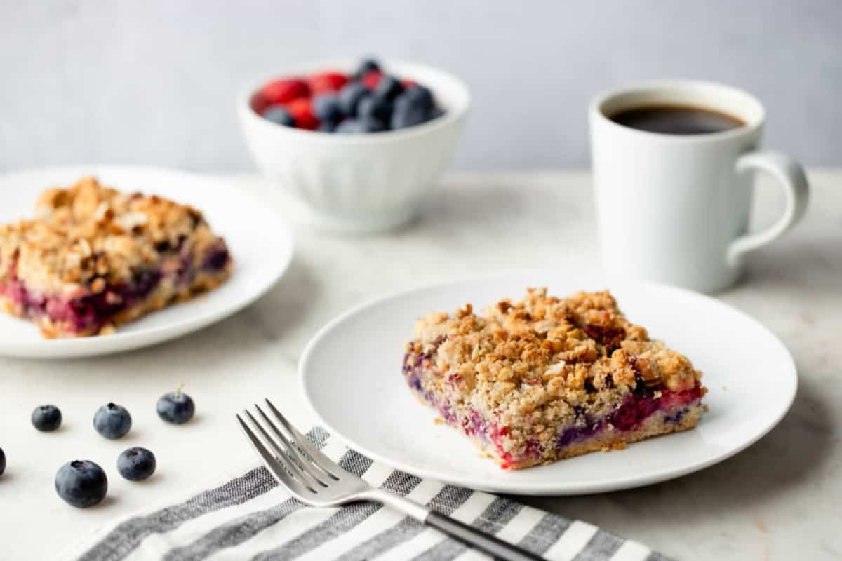 Mixed berries make the perfect filling for springy Berry Crumble Bars