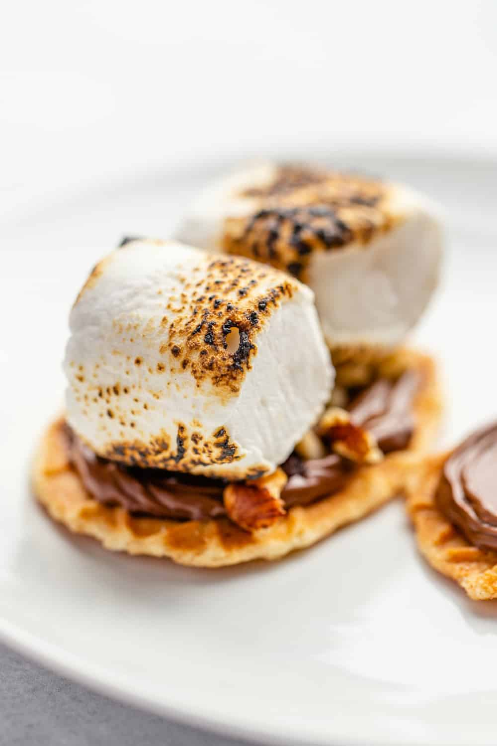 Waffle cookie topped with chocolate hazelnut spread, toasted hazelnuts and 2 toasted marshmallows