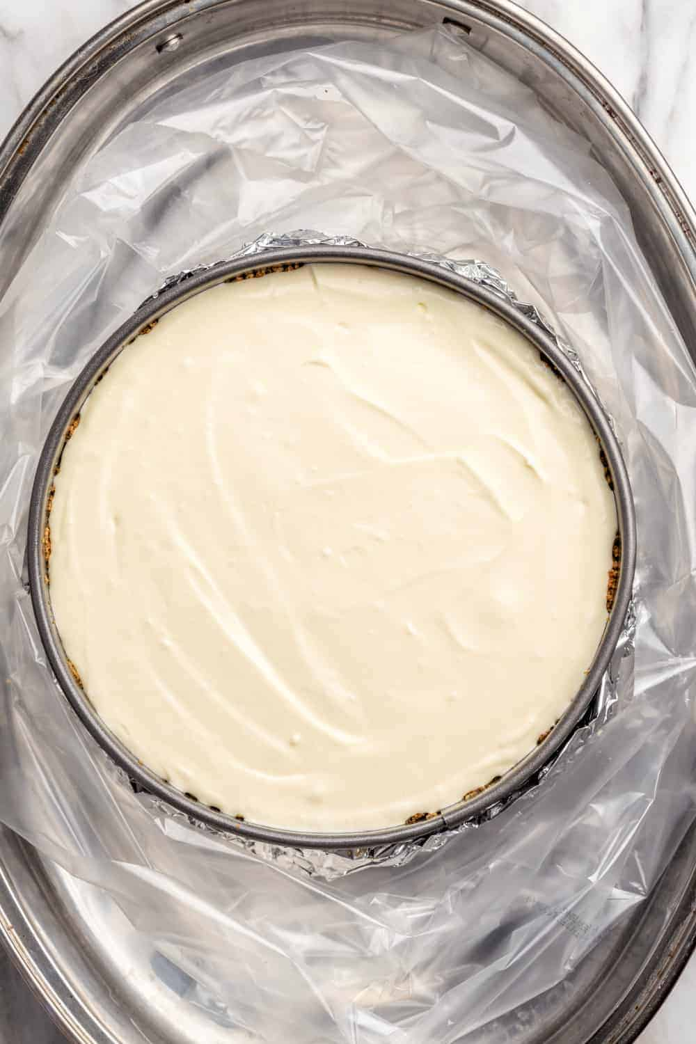 Vanilla cheesecake ready to bake