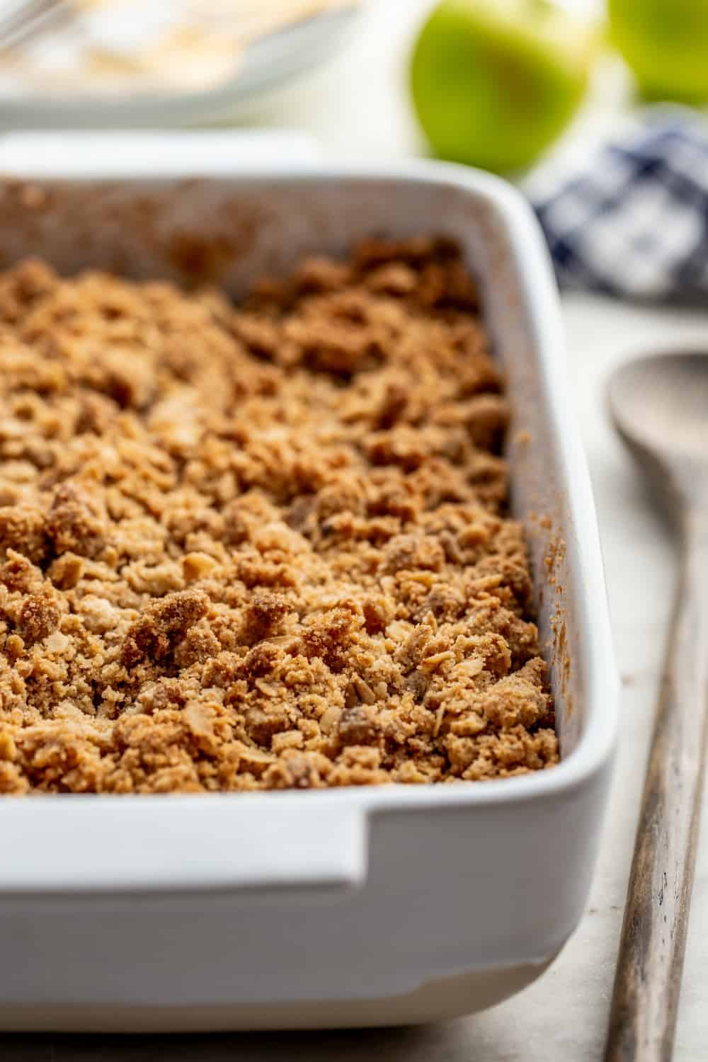 Baking dish of caramel apple crisp fresh from the oven