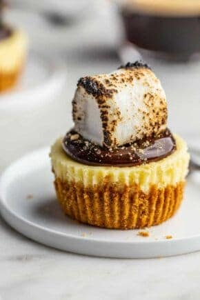 Plated mini cheesecake topped with hot fudge sauce and a toasted marshmallow