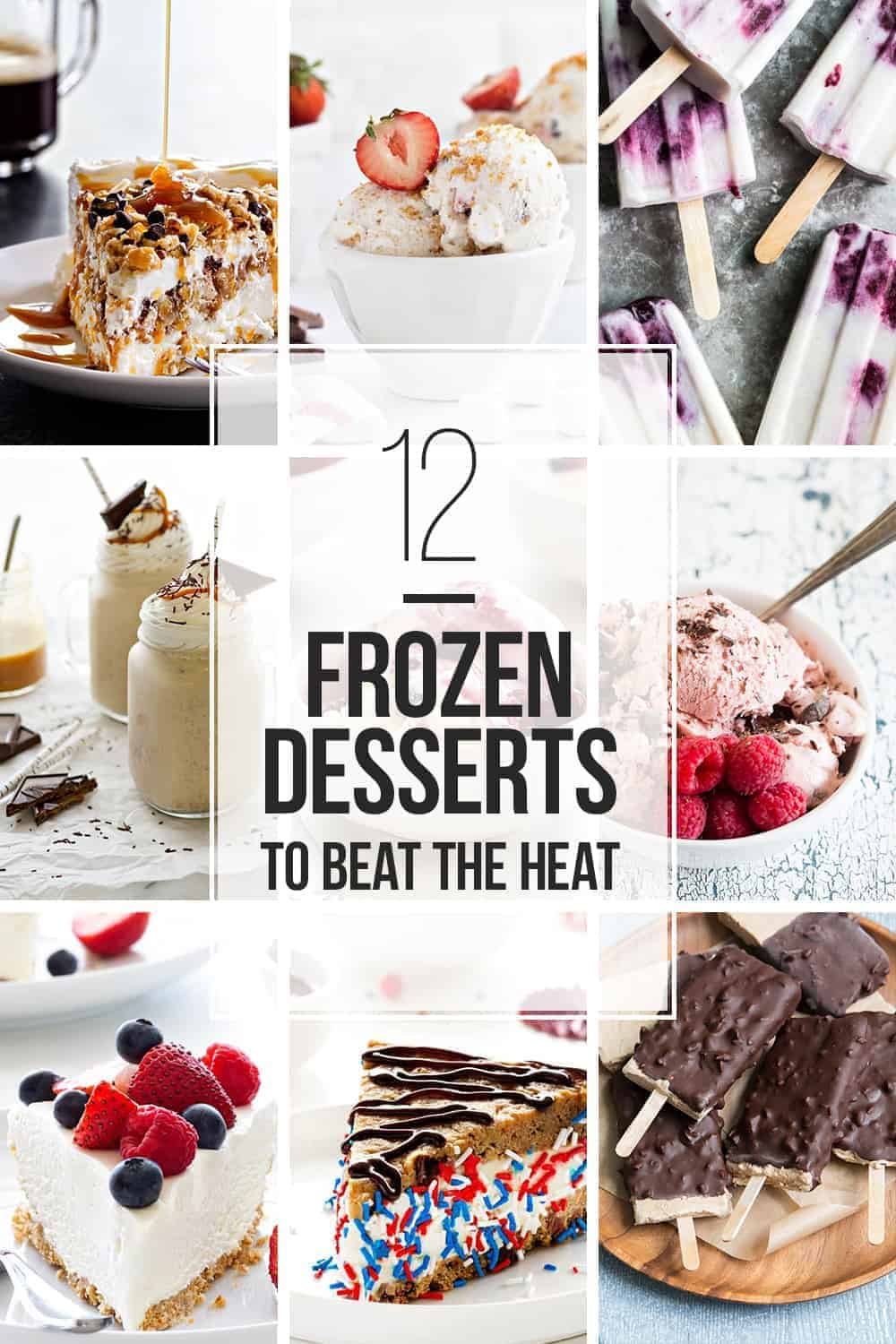 Frozen Dessert Recipes Collage Image