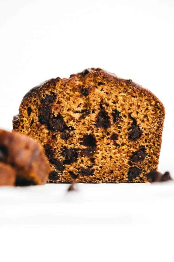 View of the inside of a loaf of pumpkin chocolate chip bread