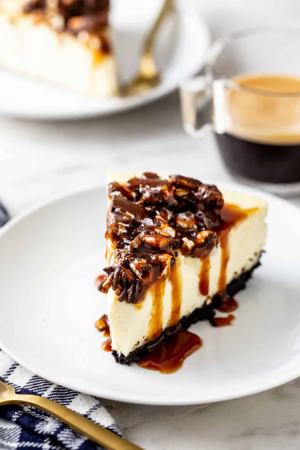 Slice of sweet and salty cheesecake and a cup of espresso