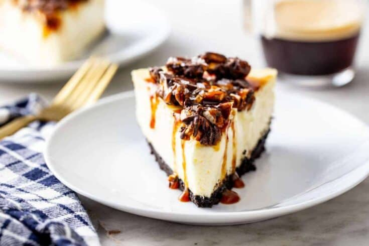 Chocolate, caramel and salty pretzels come together in this rich and creamy Sweet and Salty Cheesecake! If you love sweet and salty snacks, this cheesecake is for you.